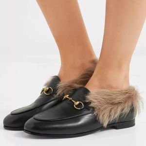 Gucci Jordaan Horsebit Shearling Fur Lined Loafers